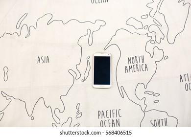 Globe map and smartphone
