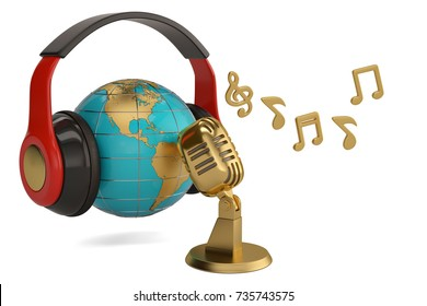 Globe with microphone and notes creative concept 3d illustration.