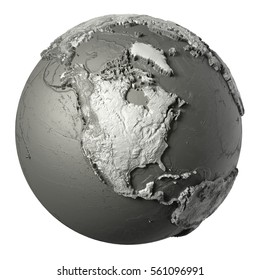 Globe model with detailed topography without water. North America. 3d rendering isolated on white background. Elements of this image furnished by NASA