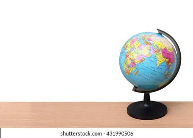 Globe model on desk ,isolate white background