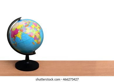Globe model on desk ,isolate white background