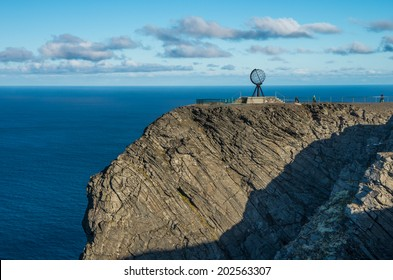 Globe monument at Nordkapp,  the northern point of Europe, located in the north of Norway