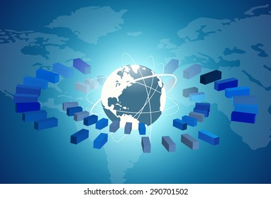 Globe network connection with blue background