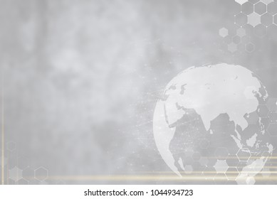 Globe and network connection technology icons on grey background. Worldwide business and global  communication technology background concept.