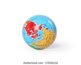 Globe, with the North Pole facing the camera, resting on a white background.