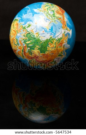Mirrored Map Of The World.Globe On Black Background Mirrored Stock Photo Edit Now 5647534