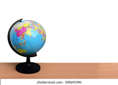 Globe on desk  ,isolated white background and saved clipping path