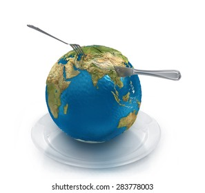Globe on a plate with a fork and knife, isolated on a white background.