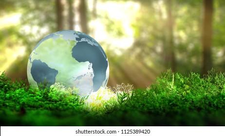 Globe on vegetation in forest. Ecological concept. 3D rendering.
