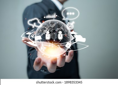 Globe on-hand online connection. Social network with people . exchange knowledge, communicate transactions, online from other hemispheres and a cloud to store info of over the world. tech of  future.