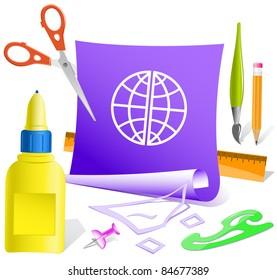 Globe. Paper template. Raster illustration.