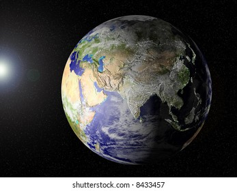 Globe of planet Earth, view on Asia. CG image with elevation, shadows/highlights and city lights on (see especially Japan and the East of China.!!, very unique image.)