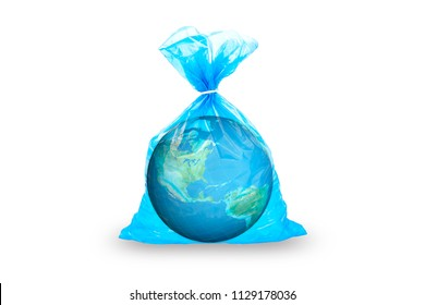 globe of a planet in a tselofan bag on a white background.security climate planet concept