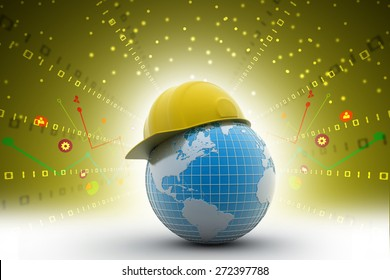 Globe with safety helmet