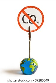 the globe says no more co2  on a white background