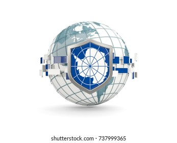 Globe and shield with flag of antarctica isolated on white. 3D illustration