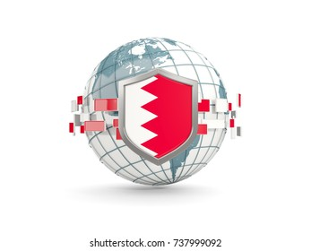 Globe and shield with flag of bahrain isolated on white. 3D illustration