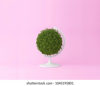 Globe sphere orb plant concept on pastel pink background. minimal idea nature. An idea creative to artwork design or World environment day concept