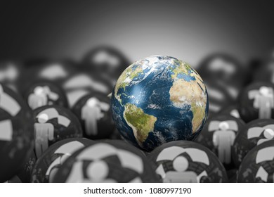 Globe Standing Out in Crowd,3D rendering