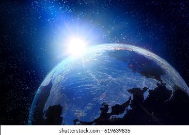 globe and sun 3D