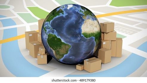Globe surrounded by cardboard boxes against composite image of navigation map