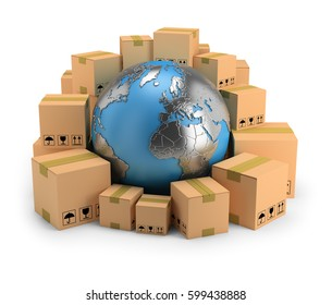 Globe surrounded by cardboard boxes. 3d image. White background.