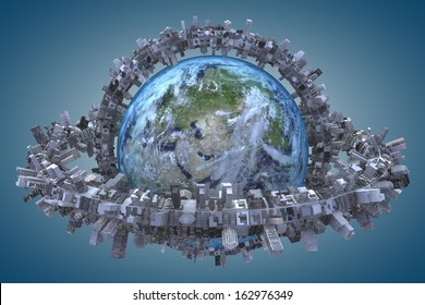 "globe and urbanization. ""Elements of this image furnished by NASA"""