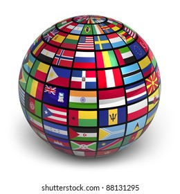 Global flags images stock photos vectors shutterstock globe with world flags isolated on white background freerunsca Image collections