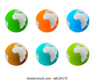 Globes in various colours