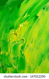 Globs of thick green and yellow paint applied to a canvas to create a background texture.