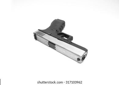 Glock pistol handgun with a white background