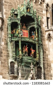 Glockenspiel - Detail of the ancient carillon of the Neue Rathaus of Munich (New Town Hall) XIX century neo-Gothic style palace in Marienplatz. Germany, Europe