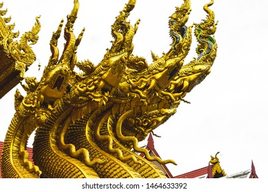 Gloden Naga statue at Wat Sri Pan Ton or Sri Pan Ton temple. An ancient temple Lanna style architecture at Nan province, Thailand. One of the most famous place in Nan province. Concept of buddhism.