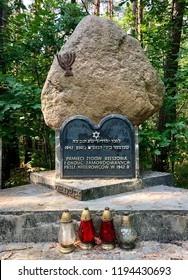 GLOGOW MALOPOLSKI, POLAND - September 3, 2018: A stone memorial commemmorating the Jewish victims from Rzeszow and neighboring areas murdered by Hitler in 1942.