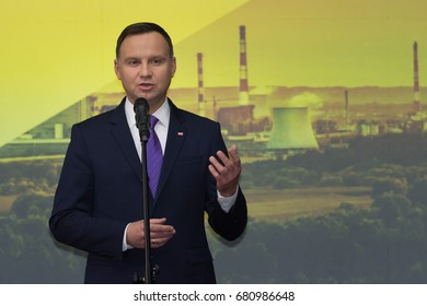 GLOGOW, POLAND - JANUARY 20, 2017: Polish President Andrzej Duda during the official opening of the new production line in Copper Smelter Glogow
