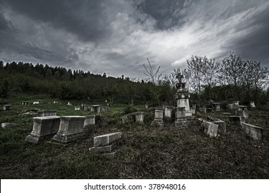 gloomy ancient cemetery under a dark sky. Shushi, Nagorno-Karabakh