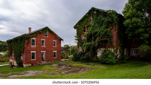 A gloomy, cloudy view of the abandoned and historic Columbiana County Poorhouse near Lisbon, Ohio.