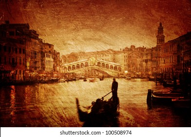 Gloomy textured image of Grand Canal and Rialto Bridge in Venice.