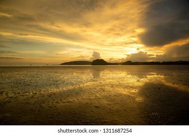 Gloomy tropical sunset,Sunset over Water and Islands,Thailand. Krabi Province, Ao Nang Beach