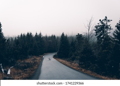 Gloomy weather and rain clouds in the Harz Mountains on the Brocken mountain