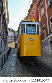 The Gloria Funicular (Elevador da Gloria) in the city of Lisbon, Portugal. Gloria Funicular connects the Pombaline downtown with Bairro Alto