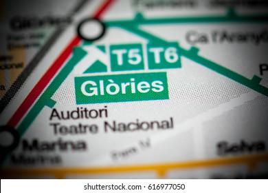 Glories Station. Barcelona Metro map.