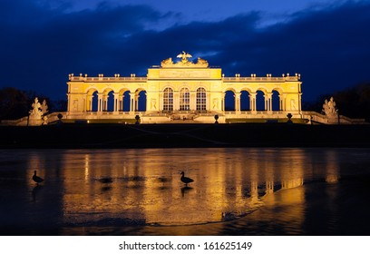 Gloriette in the garden of Schoenbrunn palace after sunset in Vienna, Austria.
