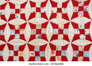 Glorified Ninepatch, vintage patchwork quilt