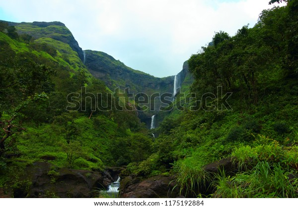 The glorious Kalu river waterfall in Malshej ghat in the western ghats of Maharashtra, India in the rainy season.