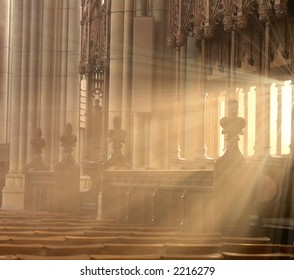 Glorious ray of light in a church