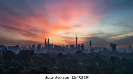 Glorious sunrise in Kuala Lumpur, Malaysia