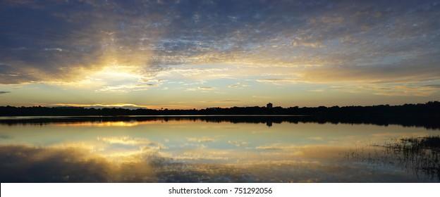 Glorious sunrise over a lake