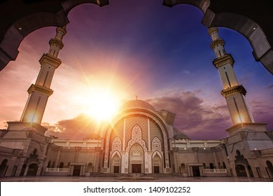 Glorious sunset at the majestic Federal Territory Mosque or Masjid Wilayah Persekutuan in Kuala Lumpur, Malaysia.Amazing sunset scenery at the mosque.