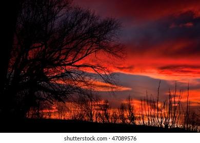 A glorious sunset near Helena Montana